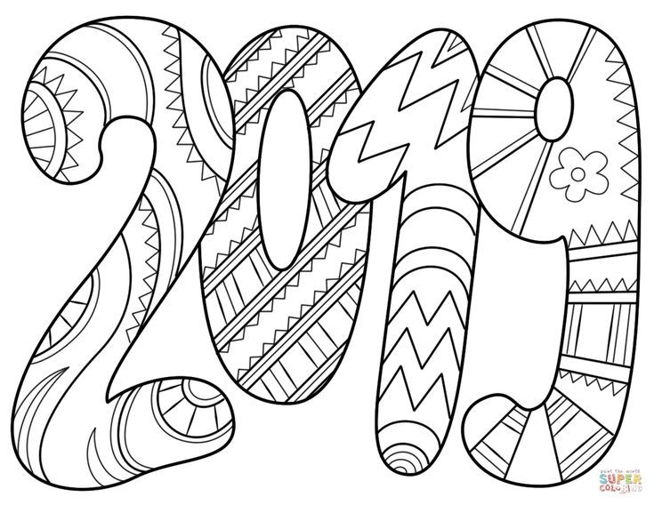 2019 Coloring Pages | New year coloring pages, Free ...