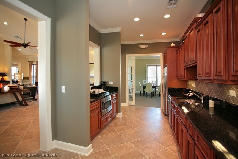 Kitchen Dark Cherry Kitchen Cabinets Wall Color Paint Color ...