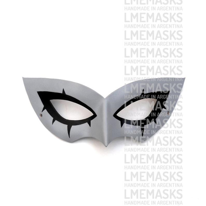 Persona 5 Leather Mask Megaten Video Game Role Playing Grey Etsy In 2020 Leather Mask Persona 5 Mask