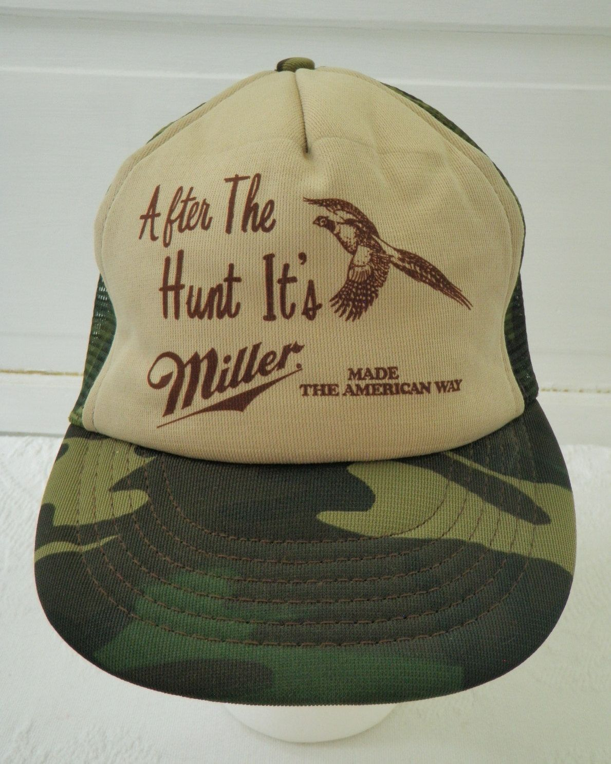 8ebc8b0e9a7 Miller Beer Camo Snapback Trucker Hat Vintage Hunting After The Hunt its  Miller Made the American