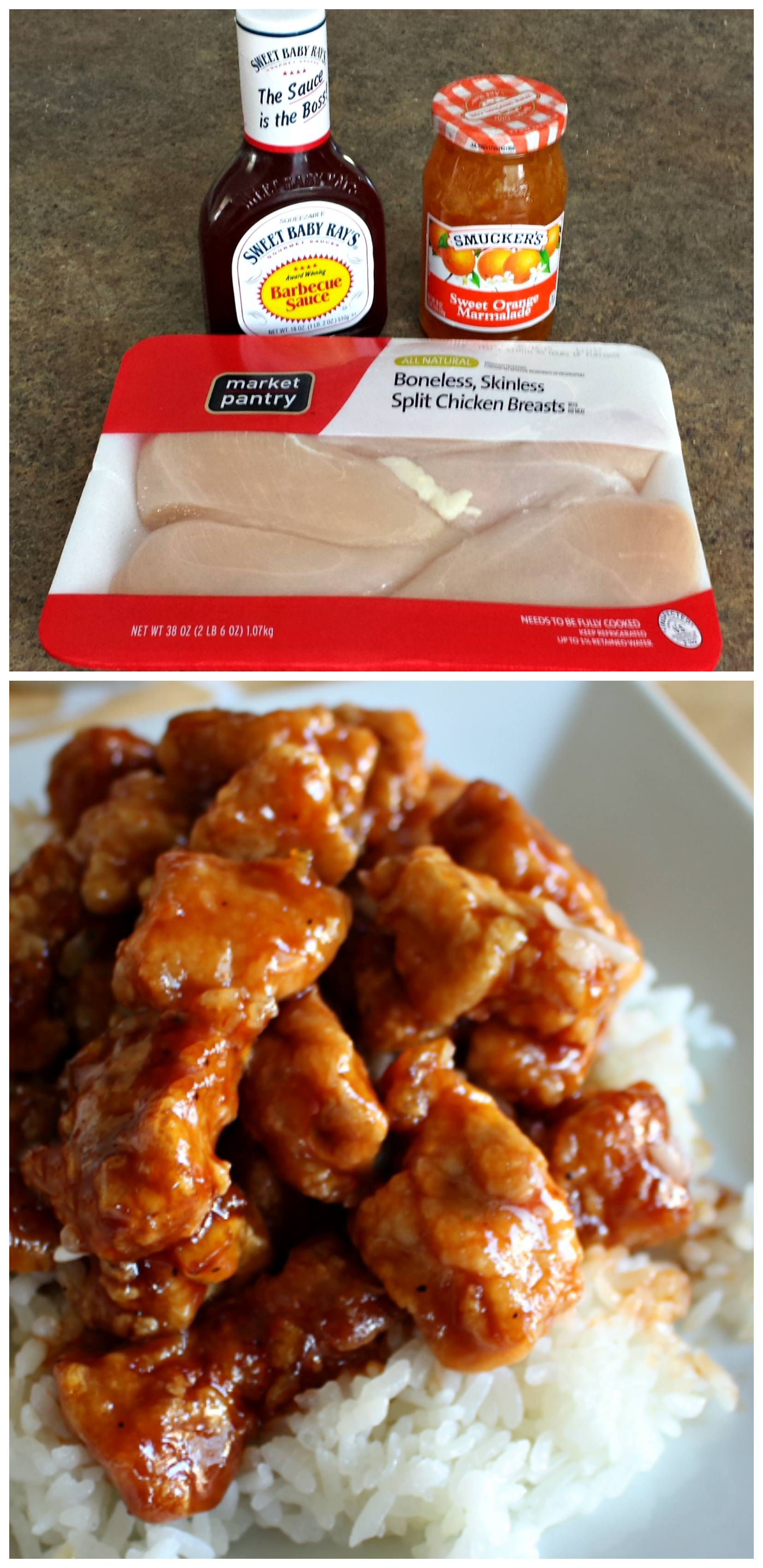 Yummm this orange chicken recipe is the best you only need 3 here is my favorite orange chicken recipe that uses sweet orange marmalade soy sauce and bbq sauce better than chinese takeout forumfinder Gallery