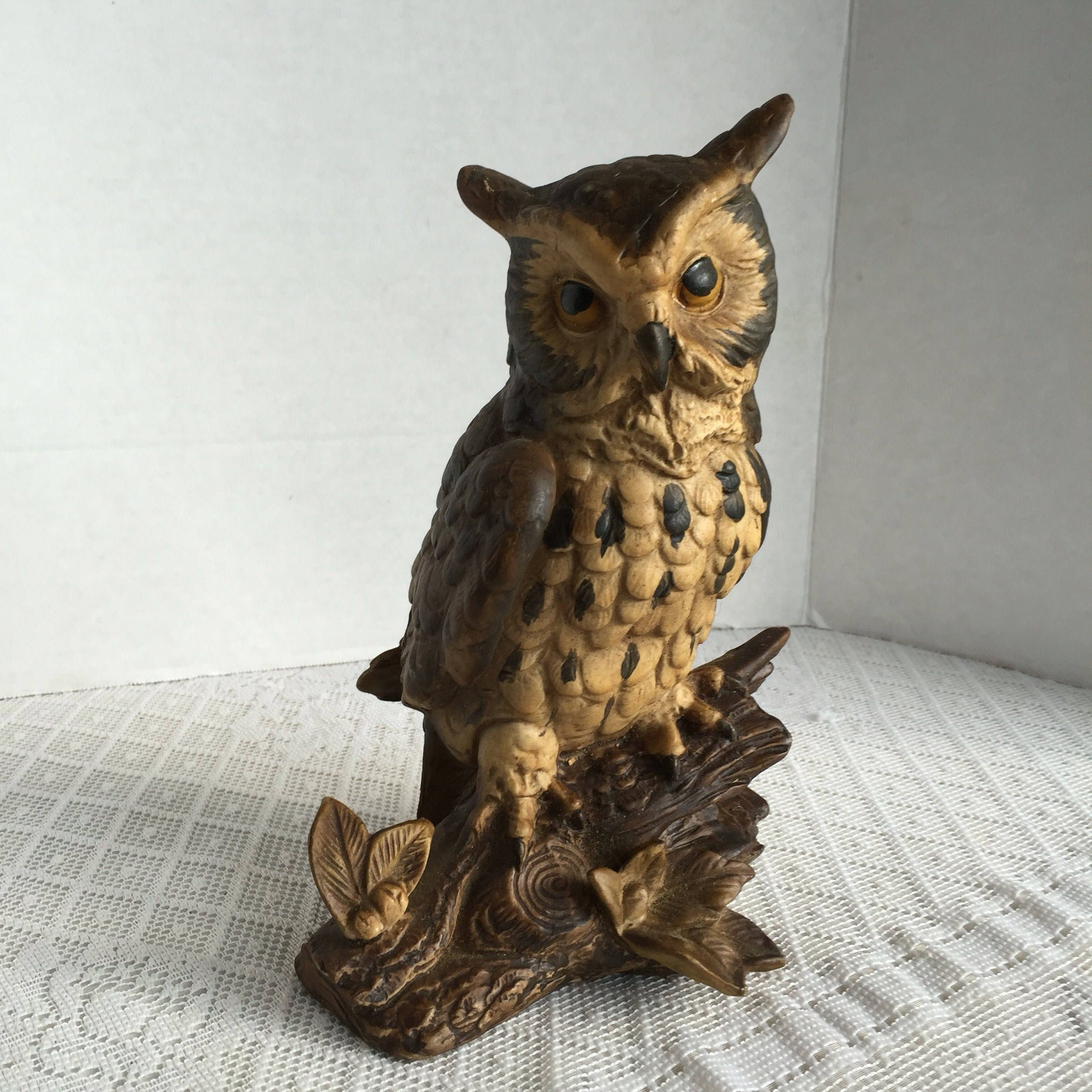 Owl Figurine / Vintage Home Decor / Collectible Brown Bird / Made In Japan