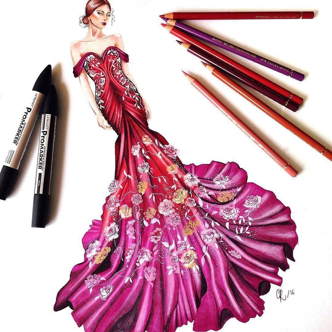 Repost from @drawingfeever Today I designed this gown I was inspired ...