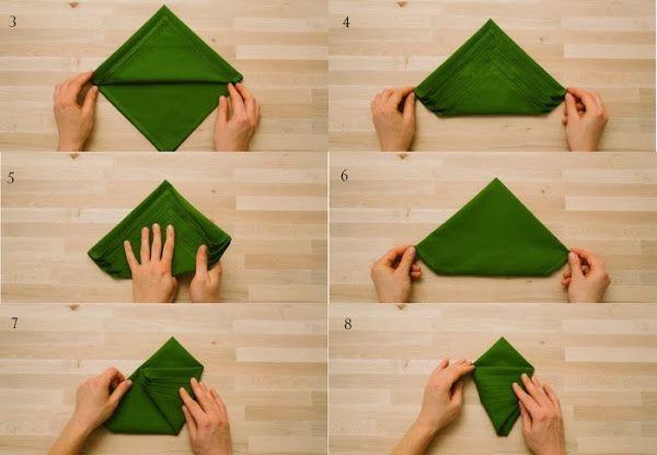 Como hacer una servilleta en forma de arbol de navidad