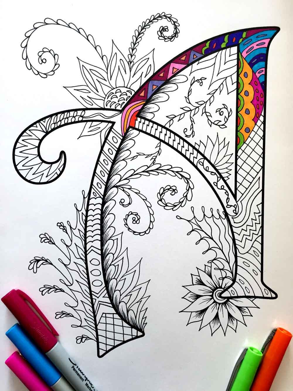Letter A Zentangle Inspired By The Font Etsy Zentangle Art Coloring Pages Zentangle