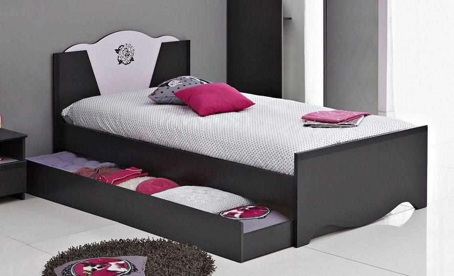 Lit Enfant Bois X Avec Tiroirs Gris Et Rose Gwen Lit Fille - Tete de lit tiroir