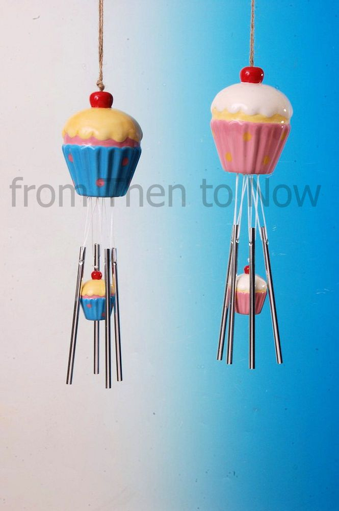 Chic & Shabby Large Fairy Cup Cake Cupcake Windchime Garden Wind Chime Pink Blue