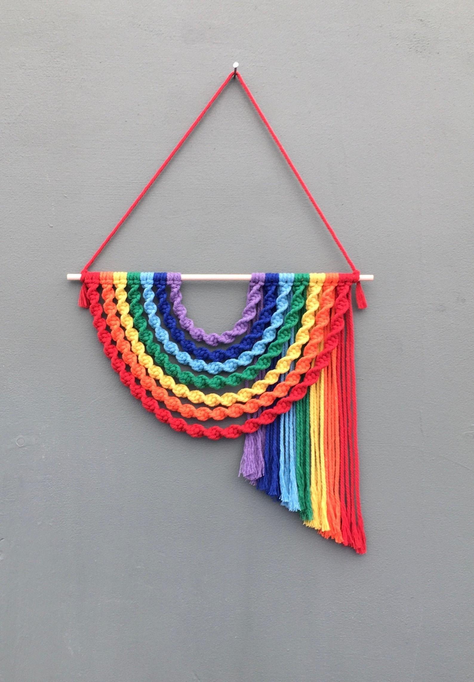 Window Decoration Rainbow of hope Handmade Crochet Wall Hanging