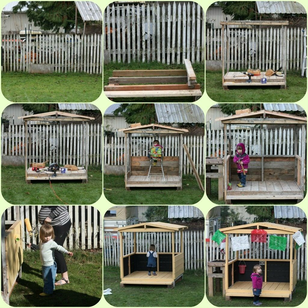 Diy pallet wood playhouse via playing house full time sarah taylor cubby ideas also best images backyard patio home garden rh pinterest