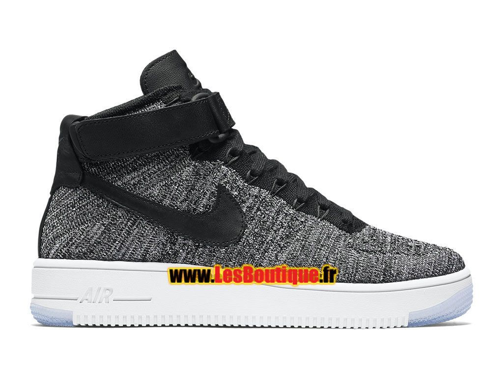 save off 14bdb 10b93 Nike Wmns Air Force 1 High Ultra Flyknit - Chaussure Nike Sportswear Pas  Cher Pour FemmeEnfant NoirBlancGris froidNoir 818018-001