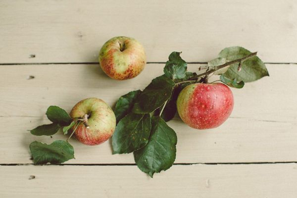 We love apple decor for a fall wedding.