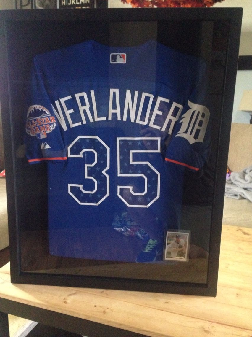 DIY frame a sports jersey with a shadow box from Michaels. This is a Justin  Verlander Detroit Tigers All Star jersey for my sons baseball room. d331b774f