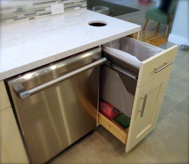 Basket As Trash Chute In Kitchen