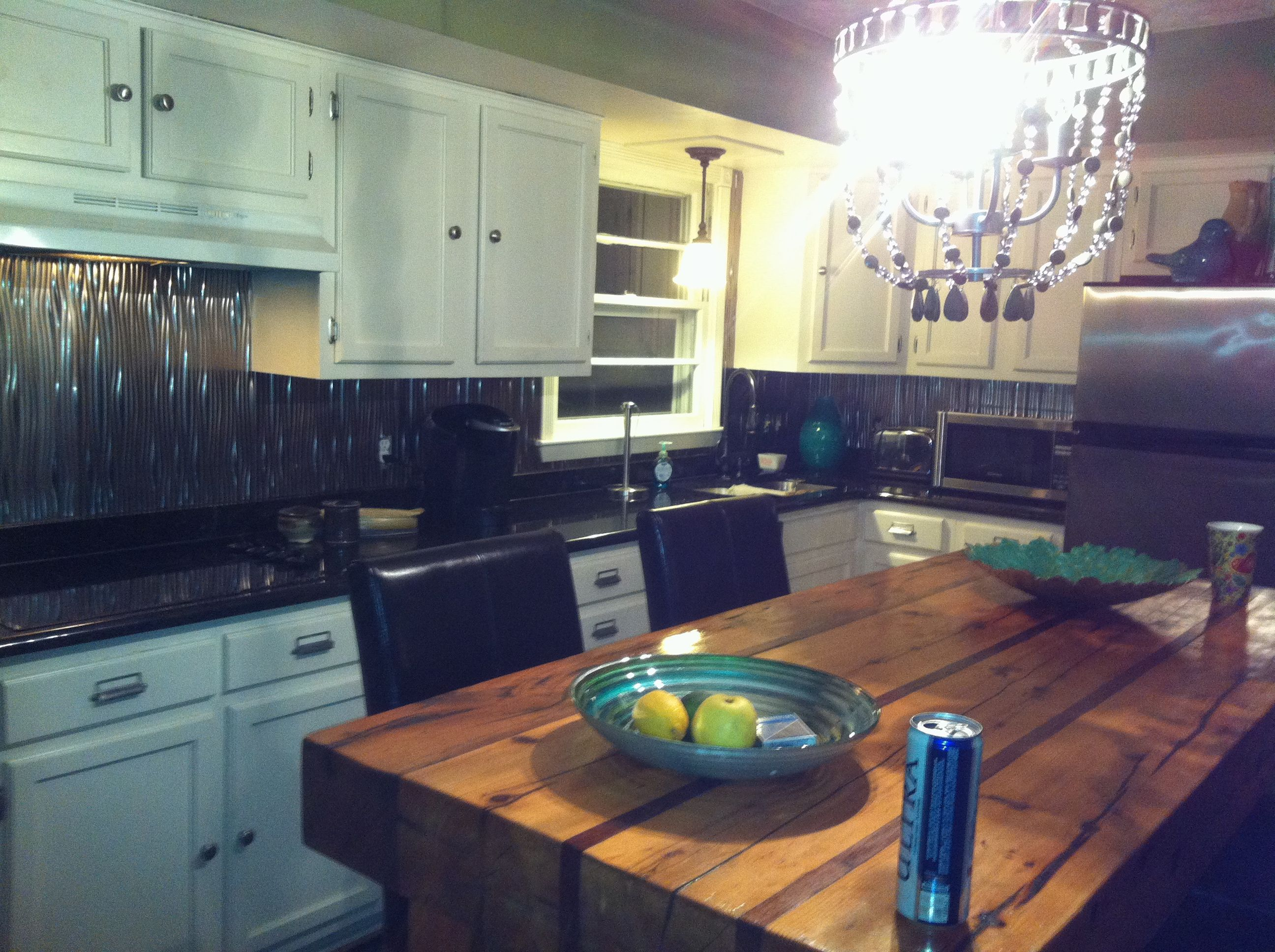 kitchen redo, backsplash is manufactured tin from lowes! (with images) | kitchen redo, kitchen