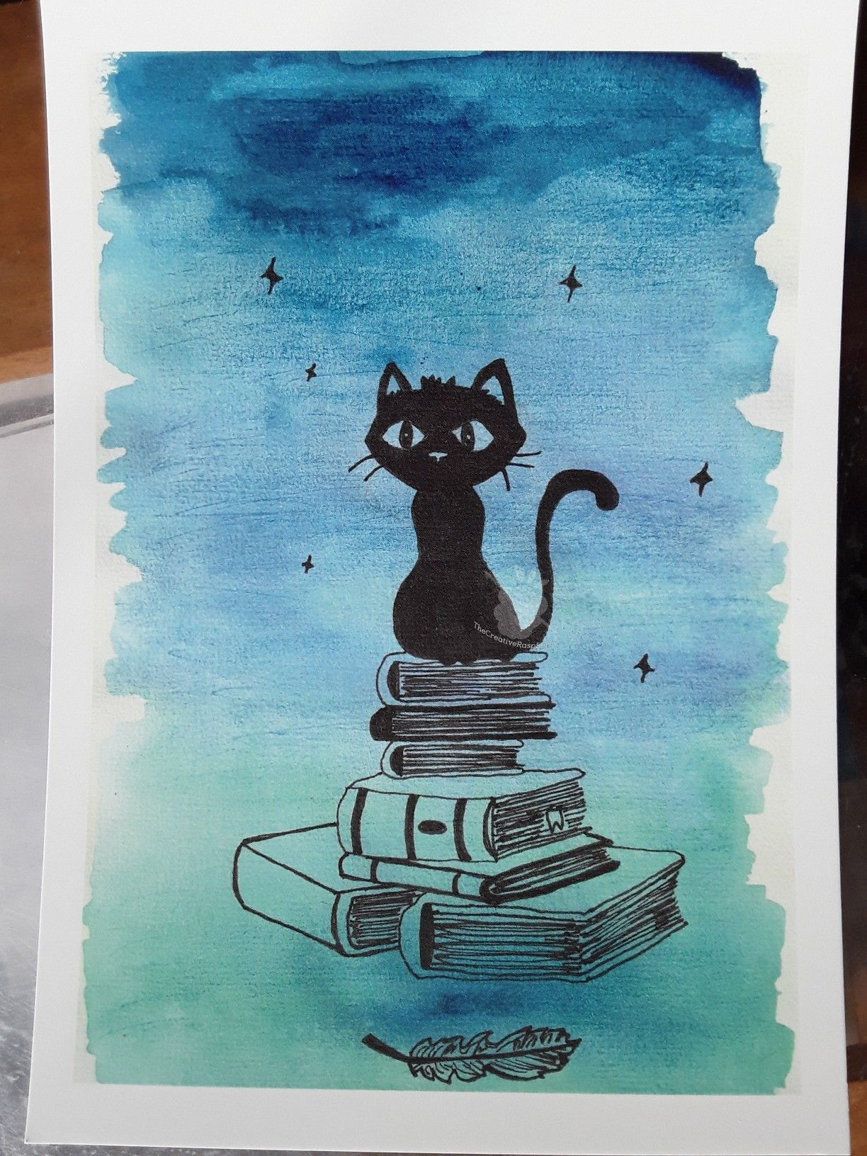Petit Chat Noir Carte Format A5 Reproduction D Aquarelle Et Encre