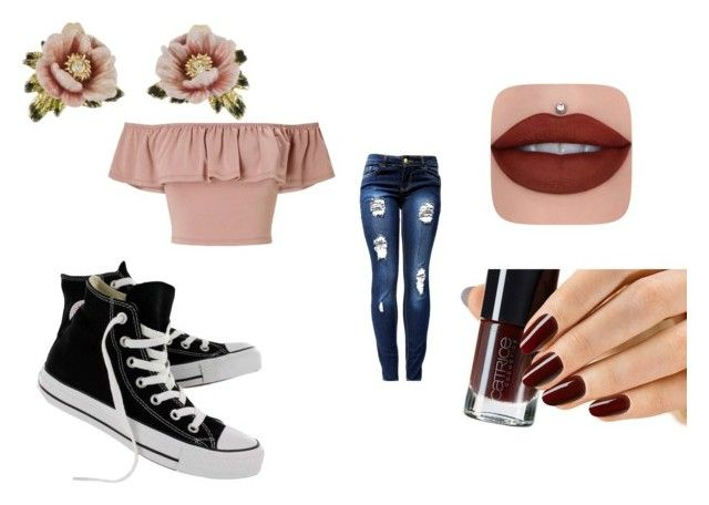 """""""Flower child"""" by the-black-dream ❤ liked on Polyvore featuring Miss Selfridge, Converse and Les Néréides"""
