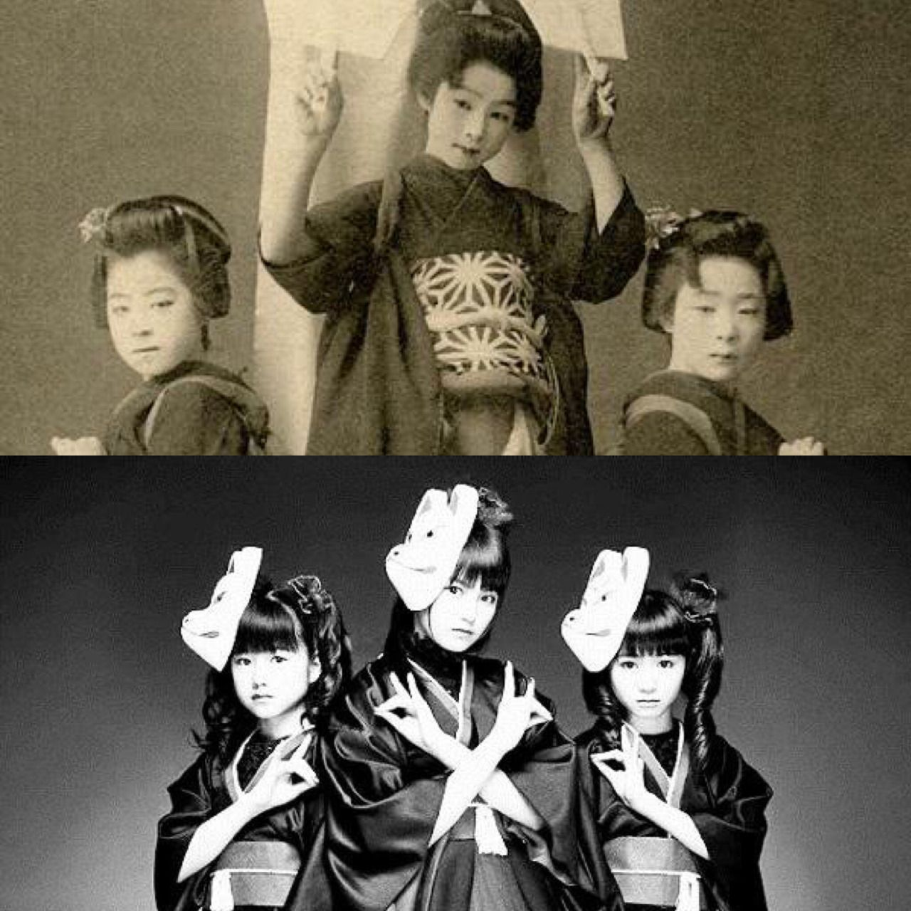 Tumblr: rosamour:    RT @HistoryImg: 日本の少女3人組1900年と現在 Three young Japanese girls 1900 and Now @BABYMETAL_JAPAN http://t.co/BqkmiO5CMZ