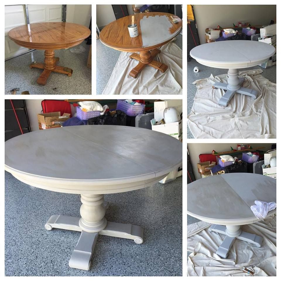 Grey Wash Pedestal Dining Table With Annie Sloan Chalk Paint Paris Grey With A French Linen Was Furniture Makeover Dining Table Makeover Pedestal Dining Table