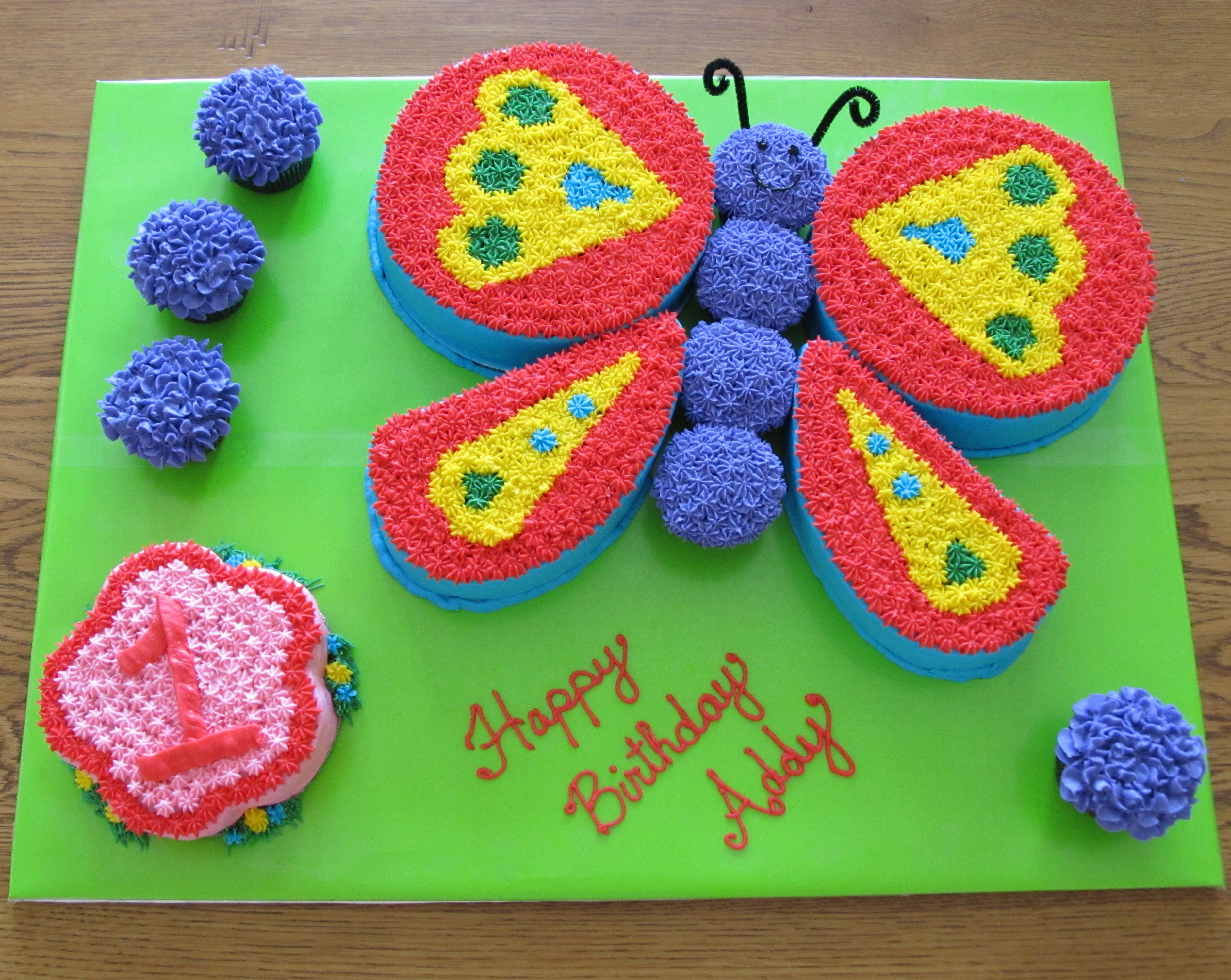 06082013 female birthday cakes pinterest smash cakes butterfly shaped cake i used two round for top wings one heart cut in half for bottom wings round trimmed to flower shape for smash cake cupcakes for izmirmasajfo