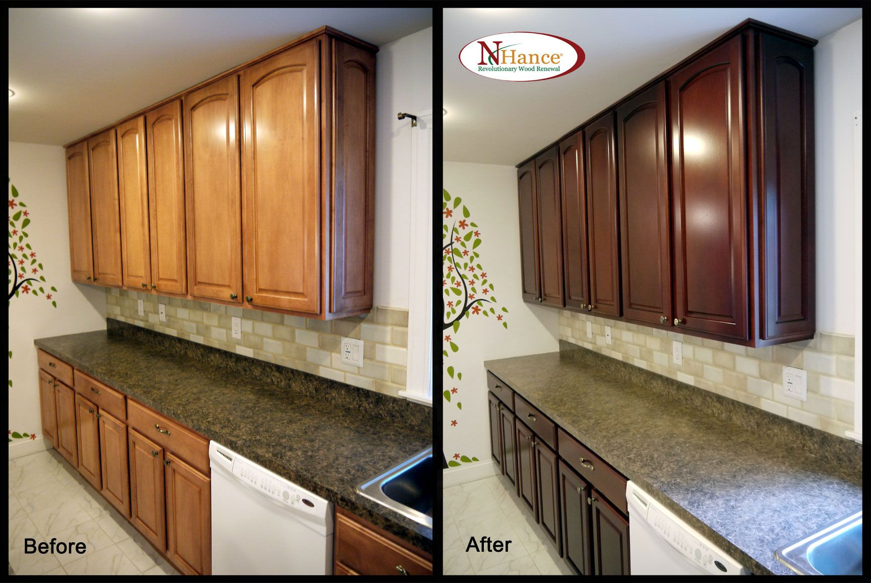 Cabinet Color Change - Before & After | Restaining kitchen ...