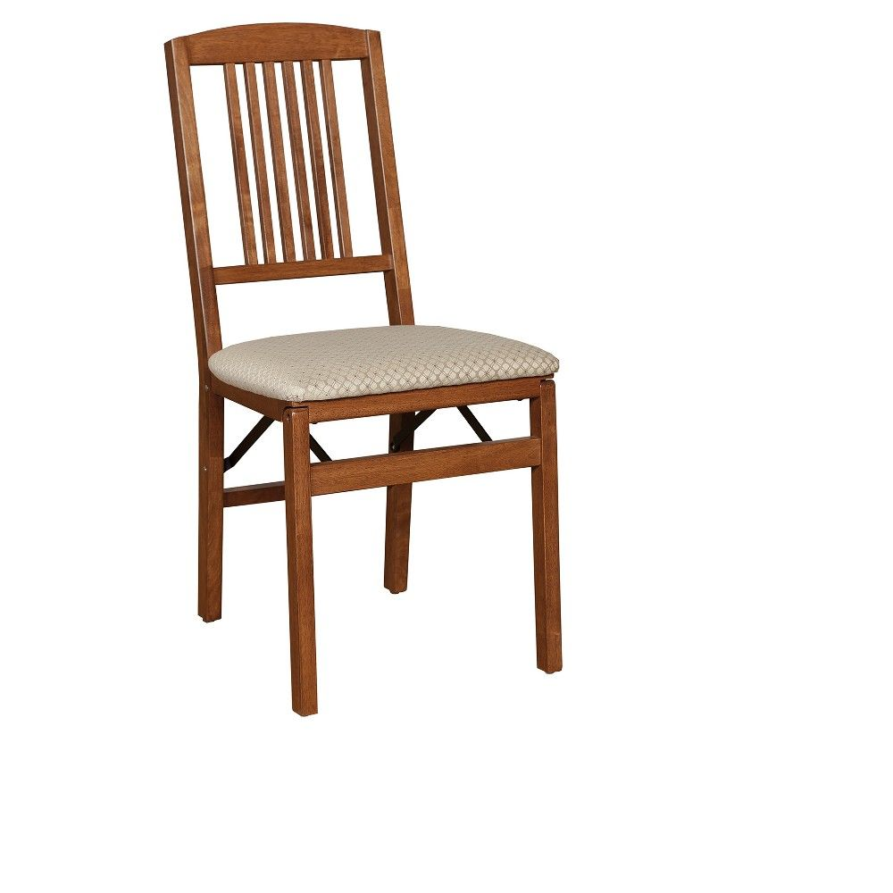 2 Piece Mission Back Folding Chair Cherry Stakmore
