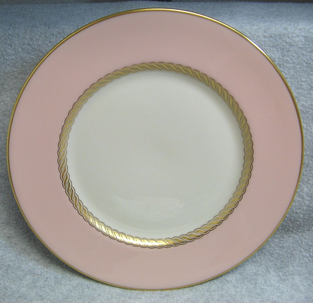 Lenox Caribbee X-444 Pink White Gold Rope Trim Salad Plate Bone China Dinnerware # : white and gold dinnerware - pezcame.com