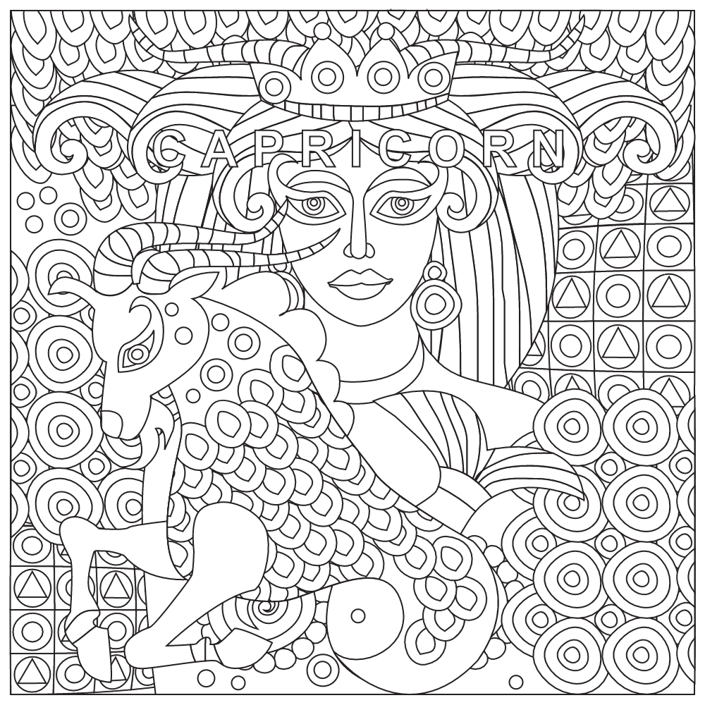 Capricorn Coloring Page Zodiac Coloring Pages For Adults