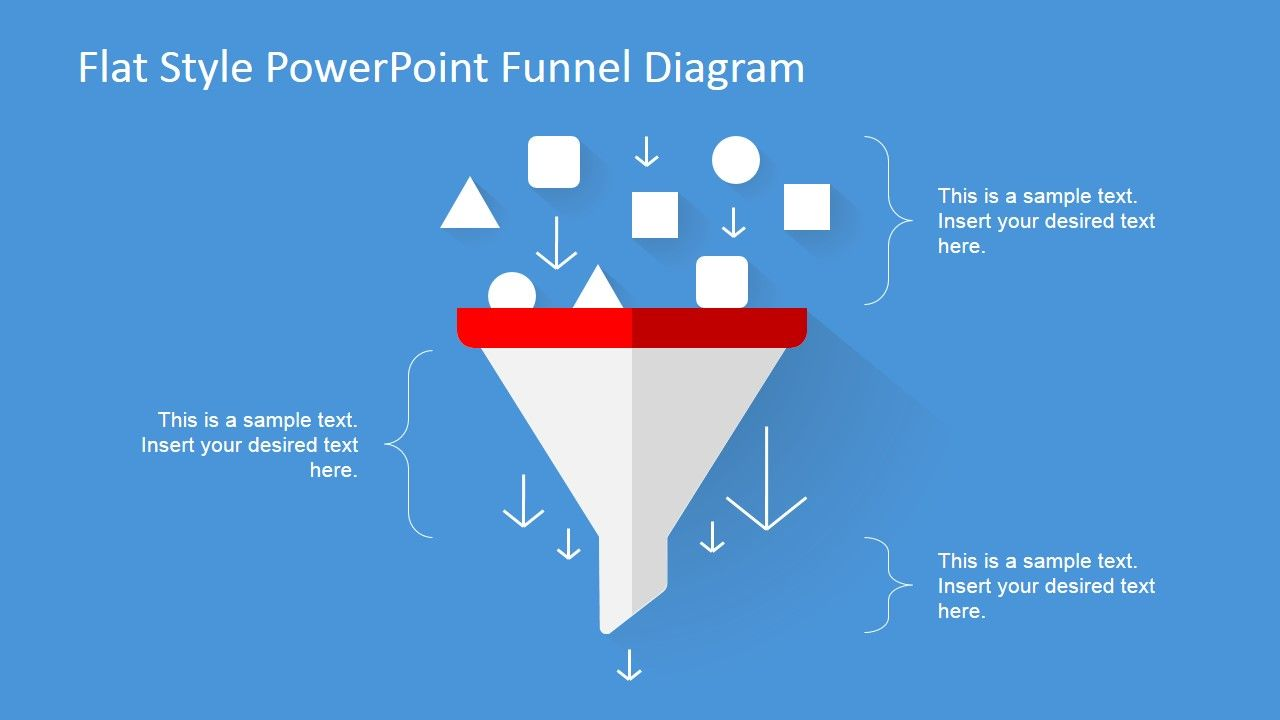 flat design powerpoint funnel diagram flat design