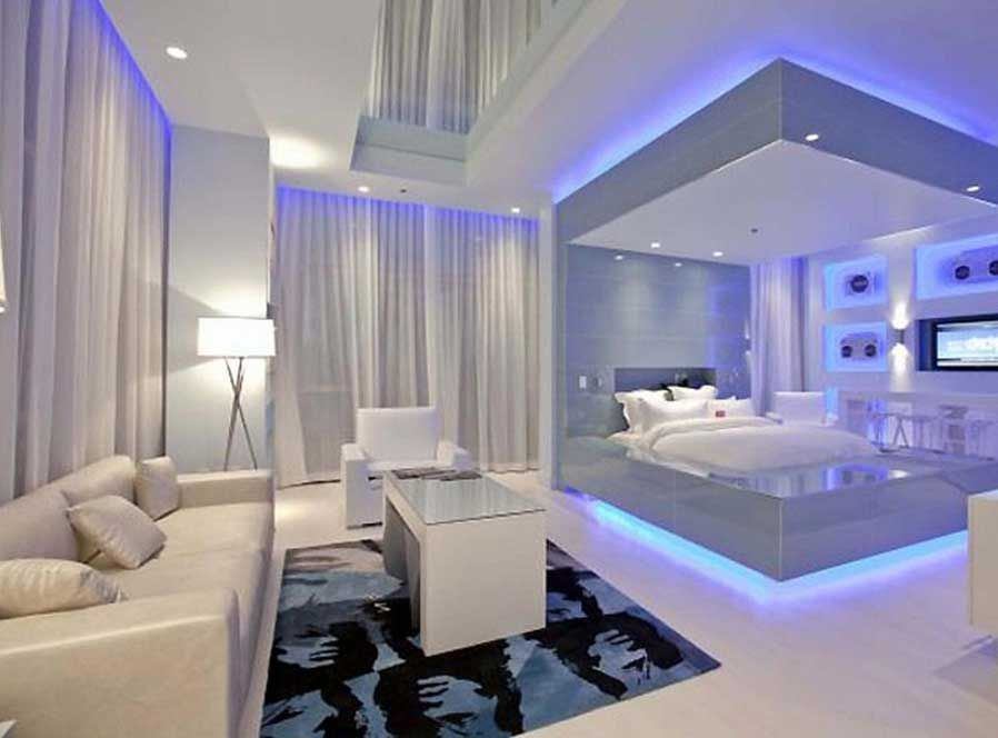 Cool Bedrooms For Modern Bedroom Decorating With Modern Lighting Design Use Modern White Platform Bed In Glas Cool Dorm Rooms Awesome Bedrooms Dorm Room Lights