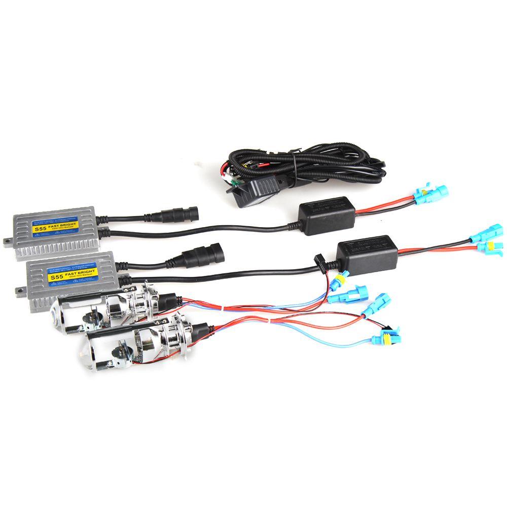 H4 Bulb Wiring Brights Schematic Diagrams 1991 Nissan Pickup Headlight Diagram New Arrine Mini Projector Kit Lens Bixenon Lhd 45w 6000k 4500lm