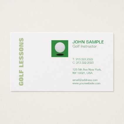 Modern Professional Elegant Chic Golf Lessons Business Card   Zazzle.com   Golf Lessons   Gol...