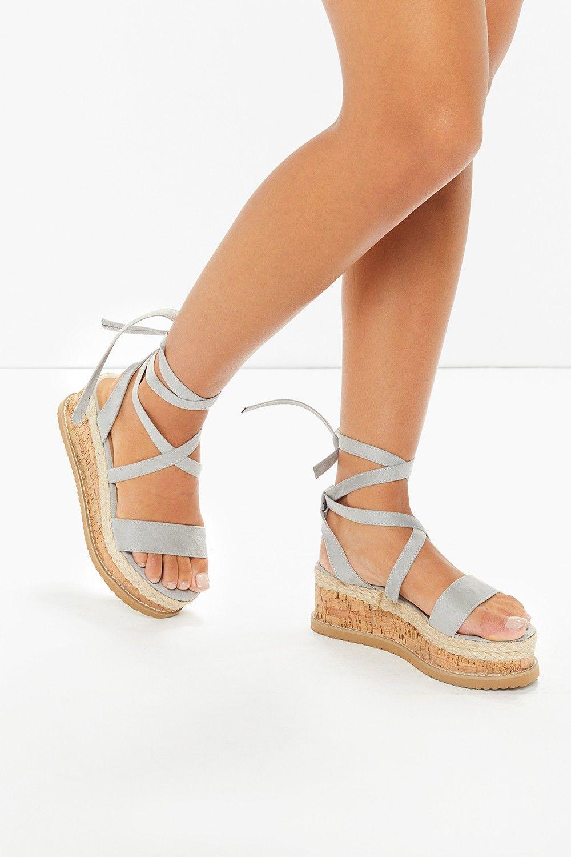 a1ba4c614df Ariella Grey Suede Tie Up Espadrille Platform Sandals