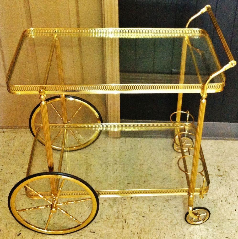 Mid Century Modern Hollywood Regency BAR TEA Serving Cart Trolley Jansen Era
