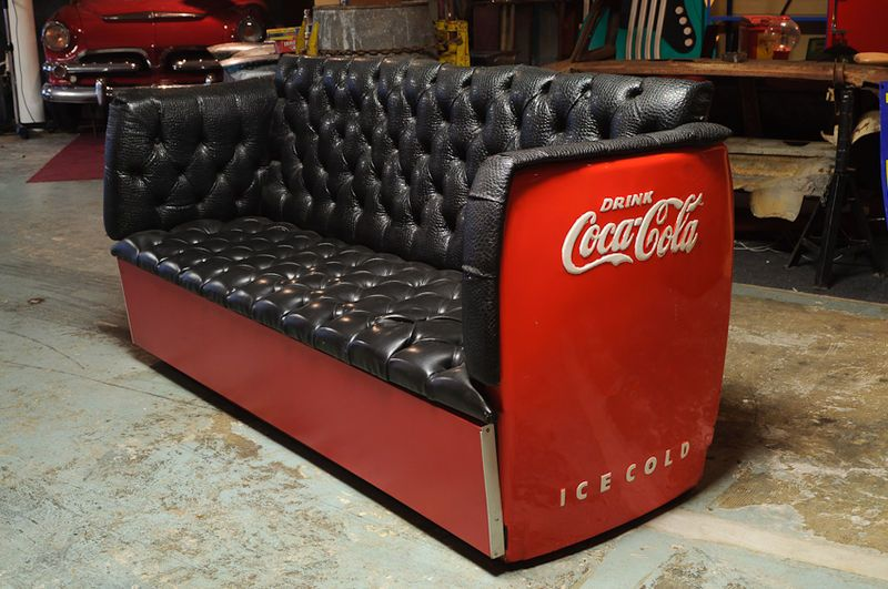 Cool Vinatge Coke Fridge Couch By Detroit Vintage Garage In Creativecarmelina Interior Chair Design Creativecarmelinacom