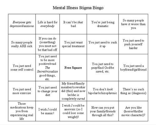 Mental illness depression bingo games stereotypes stigmas mental illness depression bingo games stereotypes stigmas solutioingenieria Images