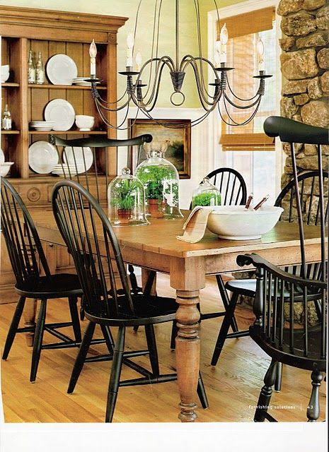 Ethan Allen Farmhouse Table And Black Windsor Chairs Needs Two Slipcovered Or Upholstered On