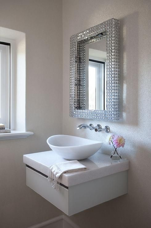 Contemporary Powder Room Features A Glass Mirror Placed Over A Floating Vanity Topped With A Bathroom Sink Bowls Small Bathroom Remodel Floating Bathroom Sink