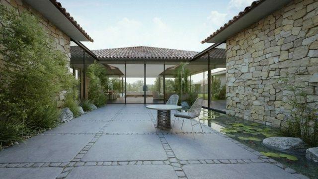 Haus Mit Steinfassade modernes haus ein stockwerk steinfassade gartenteich walmdach