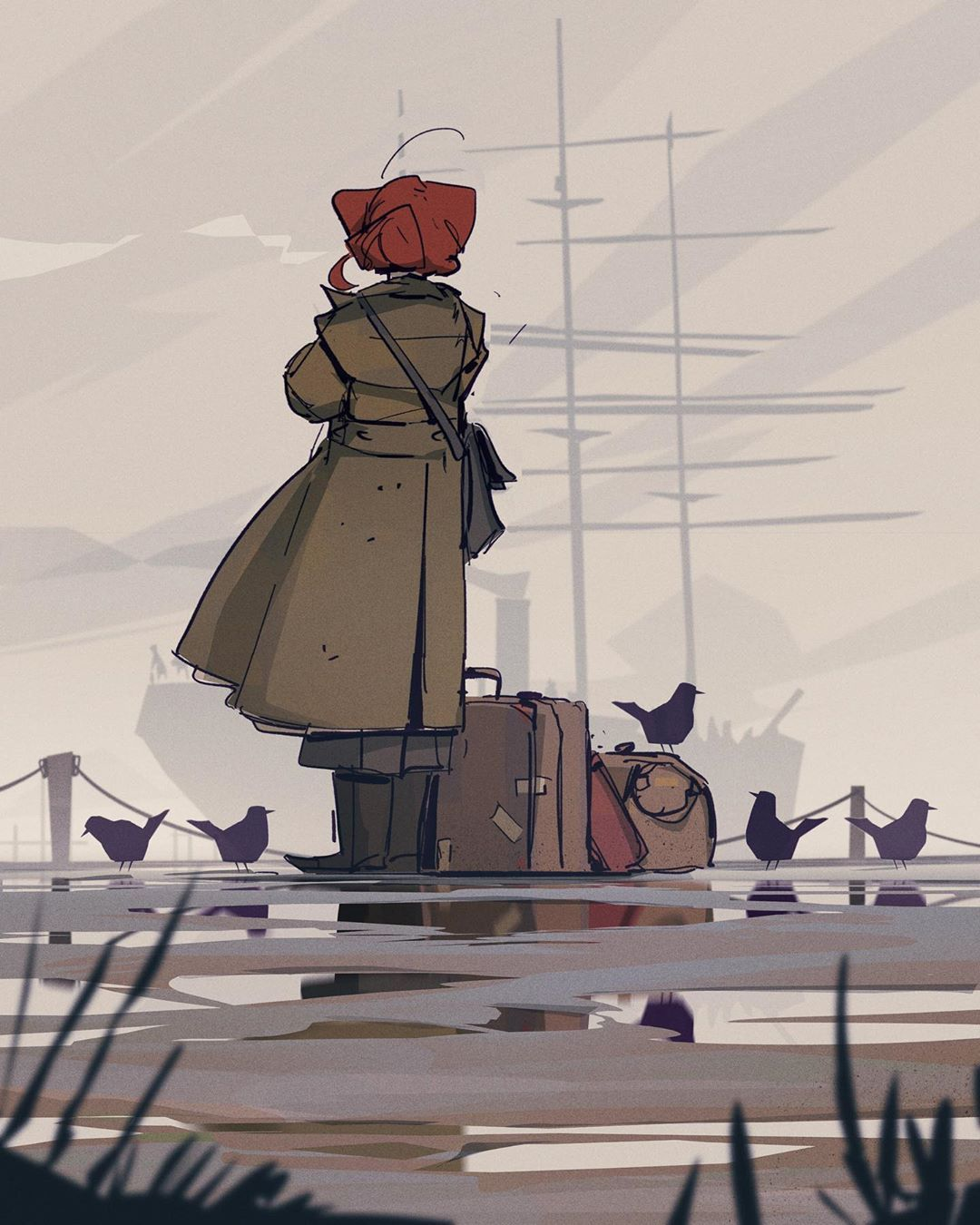 """l e m on Instagram: """"She didn't want to leave. Also: pigeons! ⭐️swipe for close ups . . . #environmentsketch #ocartwork #conceptdesign #character_design…"""""""