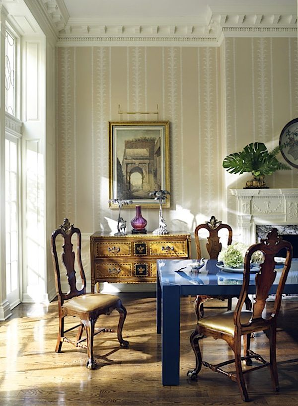 Thomas jayne philadelphia dining room cobalt blue parsons table with traditional chairs also american decoration by antique modern rh pinterest