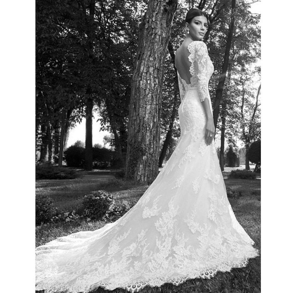 Lace sleeve mermaid wedding dress  Lace long skirt open back  Dresses we love  Pinterest  Wedding