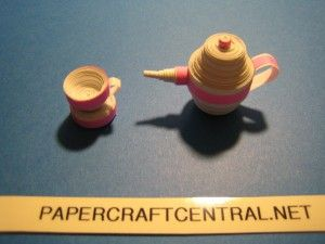 Quilled teacups and teapot quilling pinterest teacup for Quilling kitchen set
