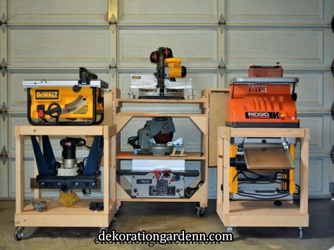 Photo of mobile carts for my garrop – by snoman @ LumberJocks.com ~ woodworking community   Tool stations in 2019   Pinterest   Garage tools, Garage workshop a