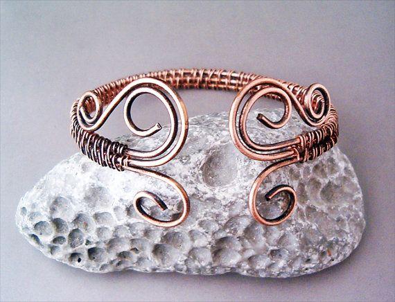 Bracelet Wire Wrapped Copper - Jewelry Handmade Bracelet Hammered ...