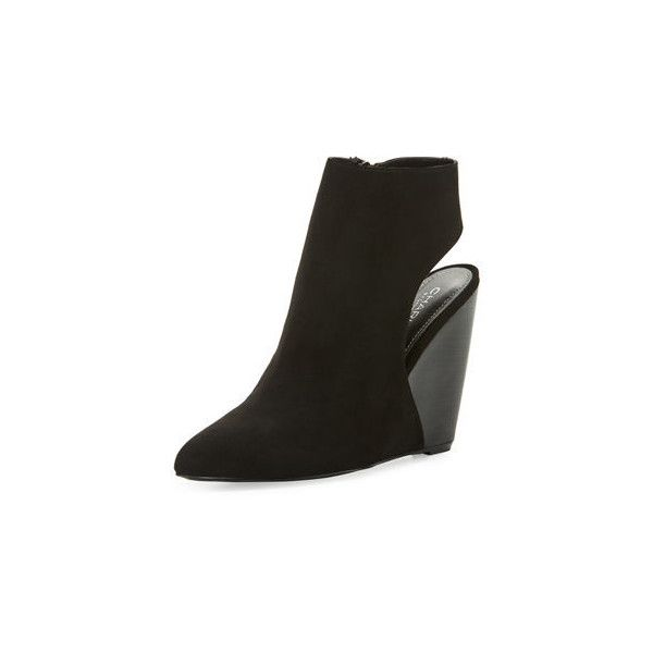 73d7a795f38f Charles By Charles David India Open-Back Suede Wedge Bootie ( 50) ❤ liked  on Polyvore featuring shoes