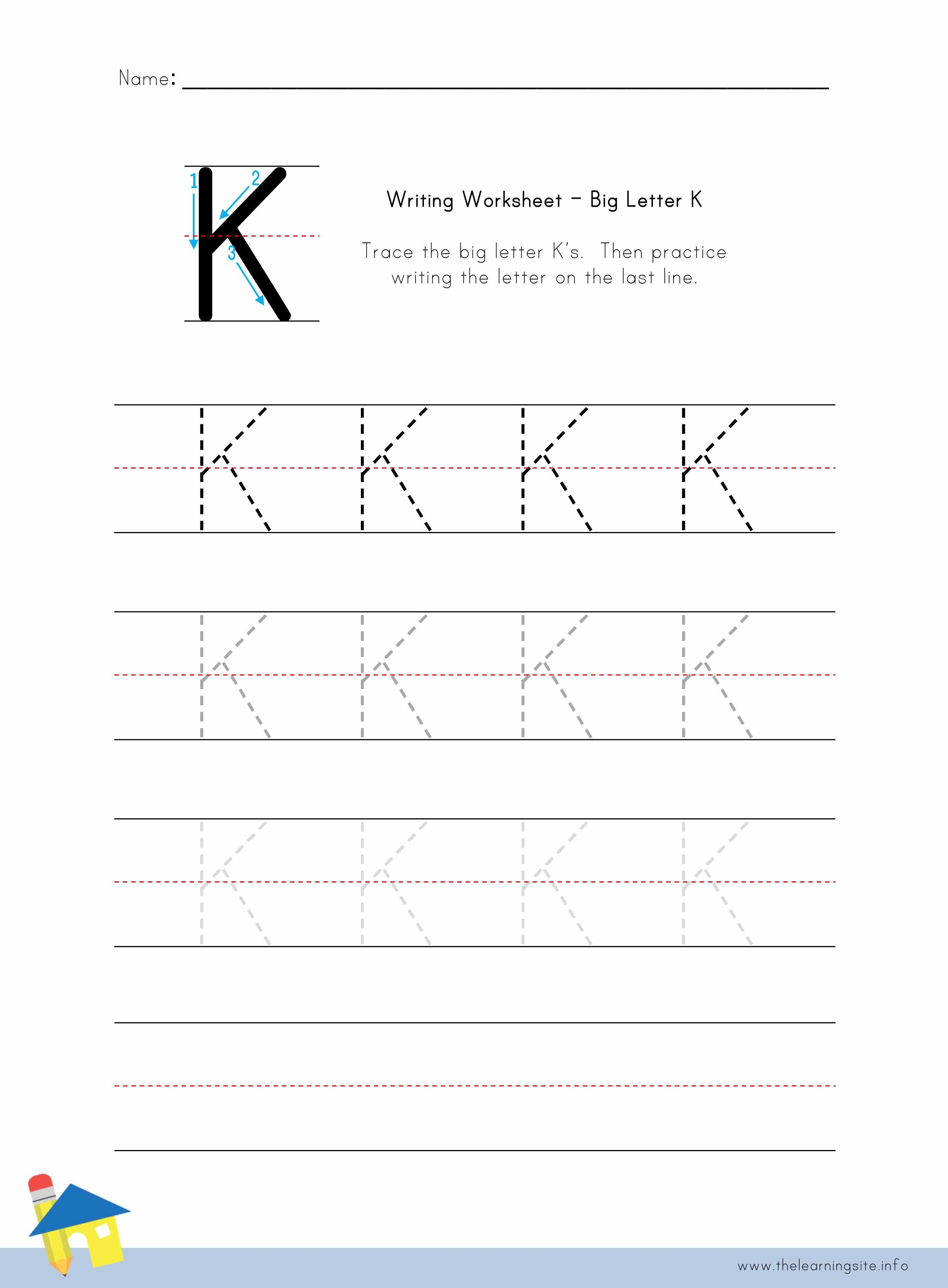 Big Letter K Writing Worksheet
