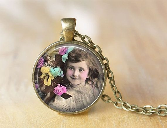 Cute Little Girl with Flowers  Altered Art by ShakespearesSisters, $9.00