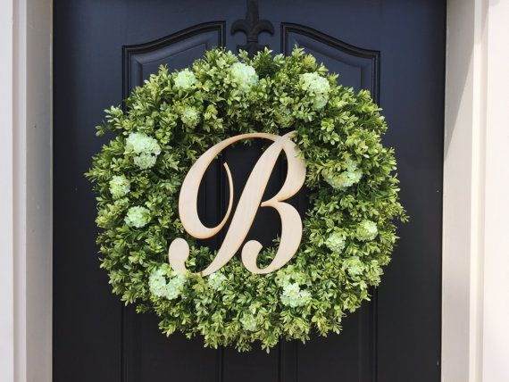 Spring Wreaths Boxwood Wreath Monogram Wooden Letter Artificial Front Door Faux I
