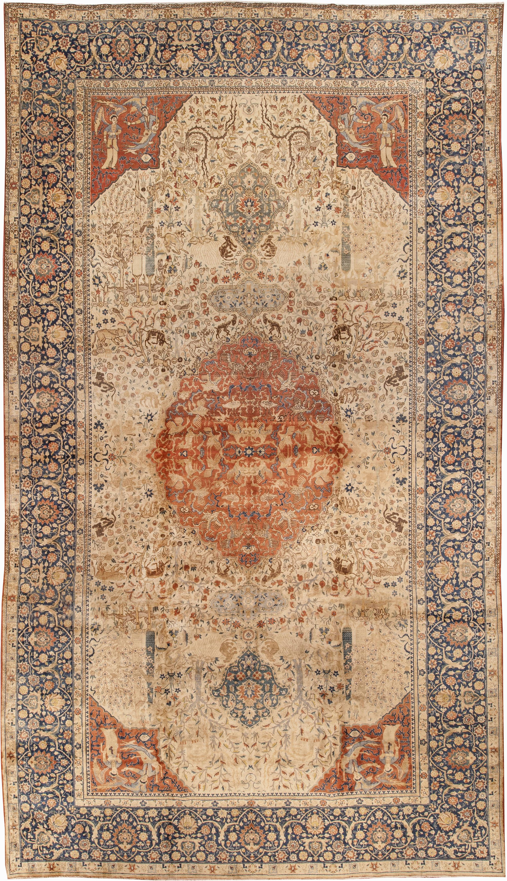 Antique Persian Tabriz Beige Dark Blue Handwoven Wool Carpet Bb0642 By Dlb Antique Persian Carpet Antique Carpets Rugs On Carpet