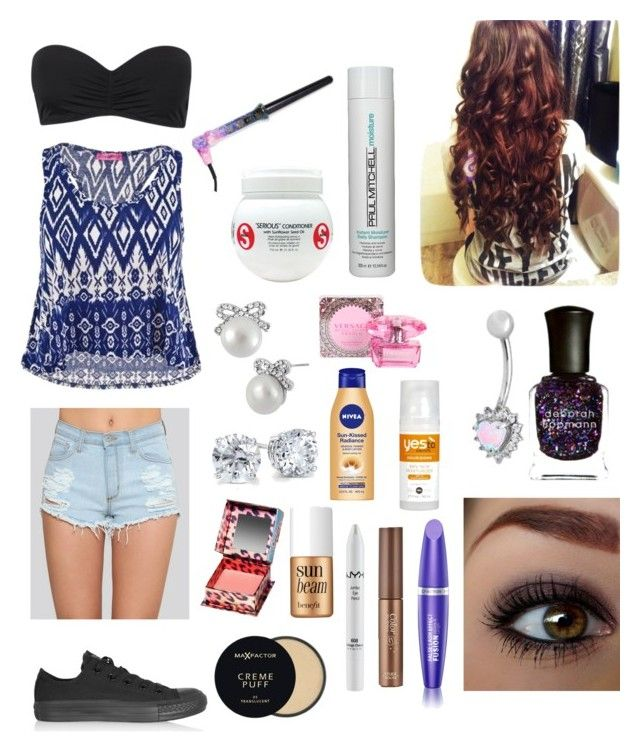 """""""Casual hanging out outfit <3"""" by abbethya ❤ liked on Polyvore featuring Converse, Max Factor, TIGI, Paul Mitchell, Betsey Johnson, Blue Nile, Etude House, NYX, Benefit and Versace"""